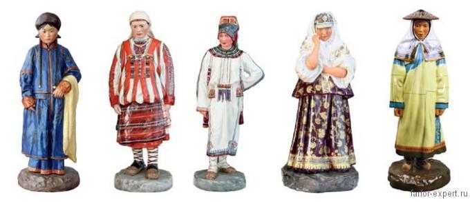 Фарфоровые фигуры серии «Народы России» работы Павла Каменского. ИФЗ, 1909–1913