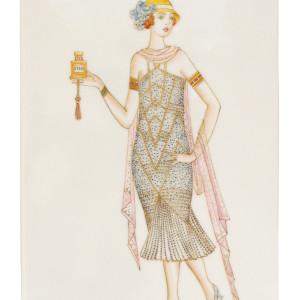 Изображение фарфового пласта «Модный дом», автор — Л. Цветкова